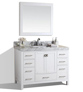 "48"" Malibu White Single Modern Bathroom Vanity with White Marble Top and Undermount Sink w/ Mirrow Option"