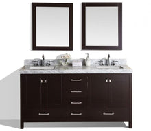 "60"" Malibu White Double Modern Bathroom Vanity with White Marble Top, Undermount Sinks and Mirrors"