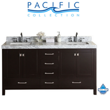 "60"" Malibu White Double Modern Bathroom Vanity with White Marble Top and Undermount Sinks"