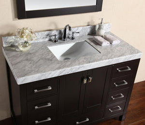 "84"" Malibu White Single Modern Bathroom Vanity with 2 Side Cabinets and White Marble Top with Undermount Sink and Mirrors"