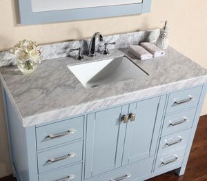 "84"" Malibu White Single Modern Bathroom Vanity with 2 Side Cabinets and White Marble Top with Undermount Sink"