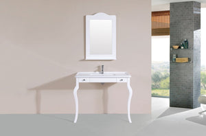 "40"" Marina White Single Traditional ADA Bathroom Vanity with Integrated Sink"