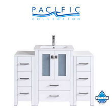"48"" Newport Espresso Single Modern Bathroom Vanity with 2 Side Cabinets and Integrated Sink"