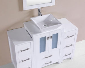 "48"" Newport Espresso Single Modern Bathroom Vanity with 2 Side Cabinets and Vessel Sink"