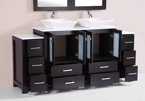 "72"" Newport Espresso Double Modern Bathroom Vanity with 2 Side Cabinets and Vessel Sinks"