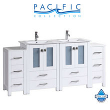 "72"" Newport Espresso Double Modern Bathroom Vanity with 2 Side Cabinets and Integrated Sinks"