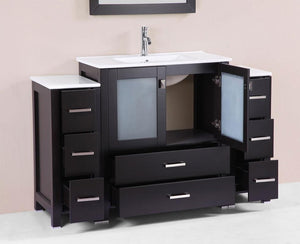 "54"" Newport Espresso Single Modern Bathroom Vanity with 2 Side Cabinets and Integrated Sink"