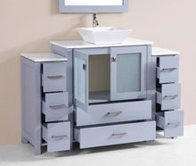 "54"" Newport Espresso Single Modern Bathroom Vanity with 2 Side Cabinets and Vessel Sink"