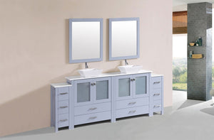 "84"" Newport Espresso Double Modern Bathroom Vanity with 2 Side Cabinets and Vessel Sinks"