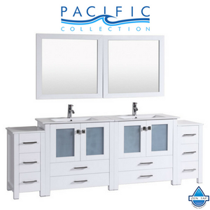 "96"" Newport Espresso Double Modern Bathroom Vanity with 2 Side Cabinets and Integrated Sinks"