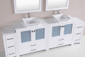 "96"" Newport Espresso Double Modern Bathroom Vanity with 2 Side Cabinets and Vessel Sinks"