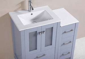"36"" Newport Espresso Single Modern Bathroom Vanity with Side Cabinet and Integrated Sink"