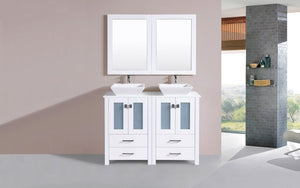 "48"" Newport Espresso Double Modern Bathroom Vanity with Vessel Sinks"