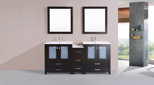 "72"" Newport Espresso Double Modern Bathroom Vanity with Side Cabinet and Integrated Sinks"