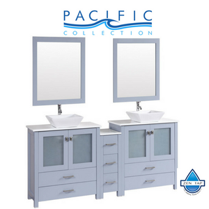 "72"" Newport Espresso Double Modern Bathroom Vanity with Side Cabinet and Vessel Sinks"