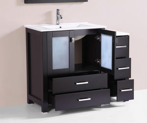 "42"" Newport Espresso Single Modern Bathroom Vanity with Side Cabinet and Integrated Sink"