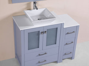"42"" Newport Espresso Single Modern Bathroom Vanity with Side Cabinet and Vessel Sink"