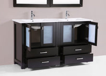 "60"" Newport Espresso  Double Modern Bathroom Vanity with Integrated Sinks"