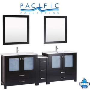 "84"" Newport Espresso Double Modern Bathroom Vanity with Side Cabinet and Integrated Sinks"