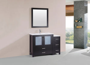 "48"" Newport Espresso Single Modern Bathroom Vanity with Side Cabinet and Integrated Sink"