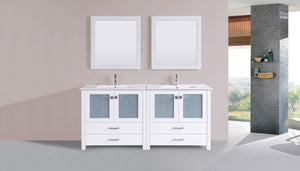 "72"" Newport Espresso Double Modern Bathroom Vanity with Integrated Sinks"