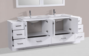 "84"" Redondo Espresso Double Modern Bathroom Vanity with 2 Side Cabinets and Integrated Sinks"
