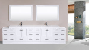 "120"" Redondo Espresso Double Modern Bathroom Vanity with 2 Side Cabinets and Integrated Sinks"