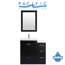 "36"" Redondo Espresso Single Modern Bathroom Vanity with Side Cabinet and Integrated Sink"