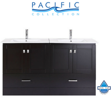 "60"" Redondo Espresso Double Modern Bathroom Vanity with Integrated Sinks"