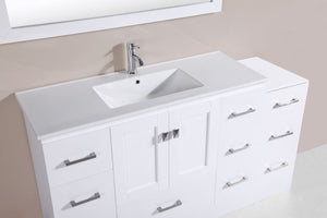 "60"" Redondo Espresso Single Modern Bathroom Vanity with Side Cabinet and Integrated Sink"