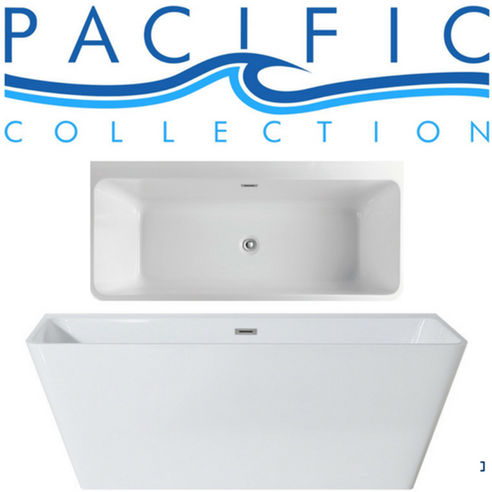 Bellagio 58'' x 28'' White Rectangle Soaking Bathtub by Pacific Collection