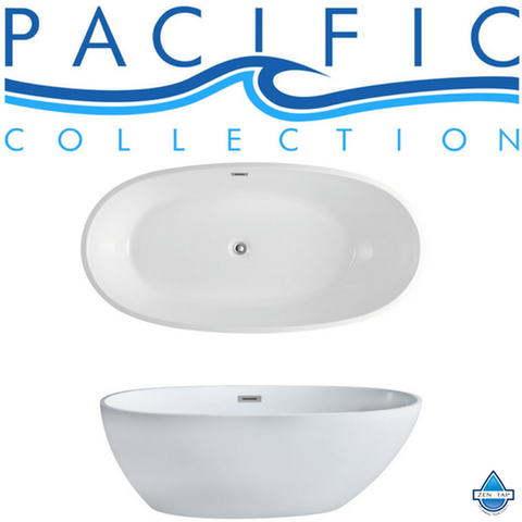 "Cosmo 66"" x 33"" White Oval Soaking Bathtub by Pacific Collection"