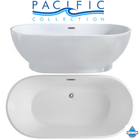 Cromwell 67'' x 32'' White Oval Soaking Bathtub by Pacific Collection
