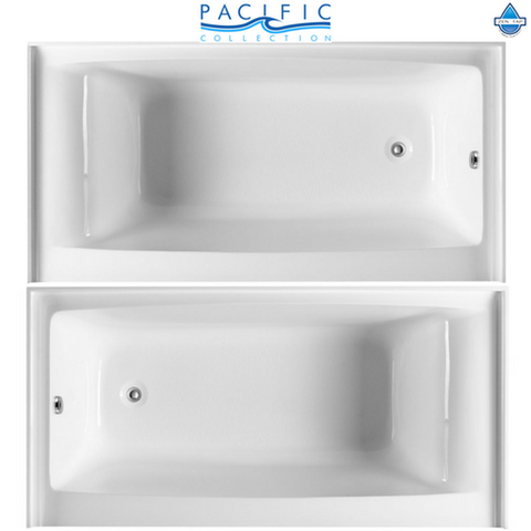 Delano 59'' x 32'' White Rectangle Alcove Soaking Bathtub by Pacific Collection