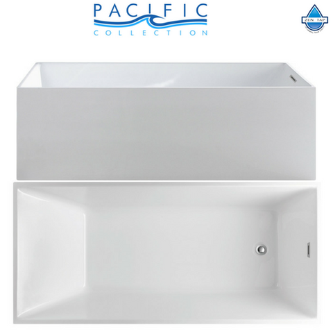 "Encore 70"" x 33"" White Rectangle Soaking Bathtub by Pacific Collection"