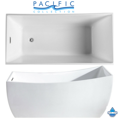 "Luxor 66"" x 31"" White Rectangle Soaking Bathtub by Pacific Collection"