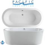 "Mandalay 58"" x 29"" White Oval Soaking Bathtub by Pacific Collection"