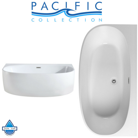 Monte 58'' x 33'' White Oval Soaking Bathtub by Pacific Collection