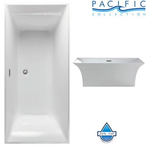 "Palazzo 66"" x 31"" White Rectangle Soaking Bathtub by Pacific Collection"