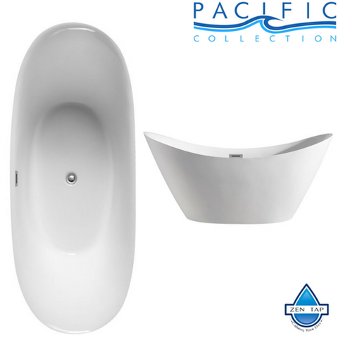 "Riviera 67"" x 28"" White Oval Soaking Bathtub by Pacific Collection"