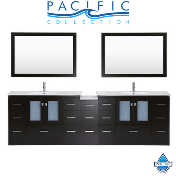"108"" Hermosa Espresso Double Modern Bathroom Vanity with Side Cabinet and Integrated Sinks and Mirrors"