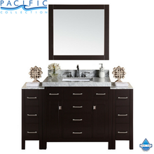 "64"" Malibu Single Modern Bathroom Vanity with 2 Side Cabinets, White Marble Top with Undermount Sink and Mirror"