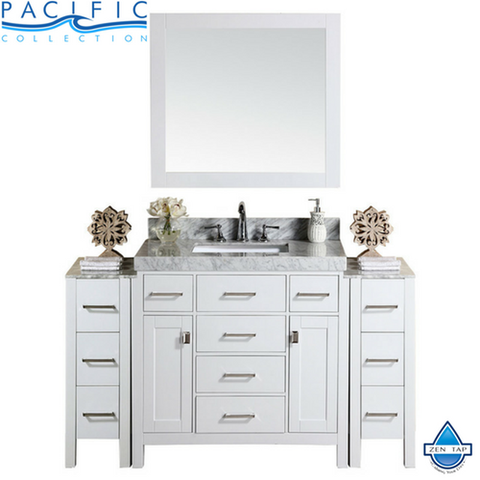"64"" Malibu Single Modern Bathroom Vanity with 2 Side Cabinets and White Marble Top with Undermount Sink"