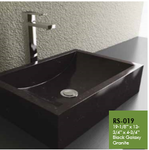 Buy Cantrio Koncepts RS-019 Absolute Black Rectangle Granite Vessel Sink - Zen Tap Sinks