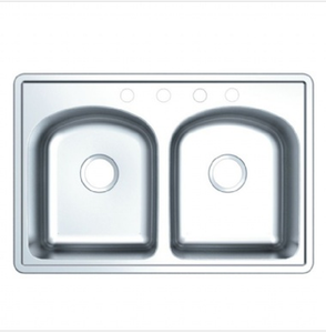 Buy Cadell Topmount Double Bowl Stainless Steel Kitchen Sink - Zen Tap Sinks - 1