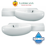 LaToscana TA30SXL and TA30SXR TAO Single Hole Wall Mount Vitreous China