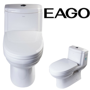 EAGO TB222 One Piece Dual Flush High Efficiency Low Flush White Toilet