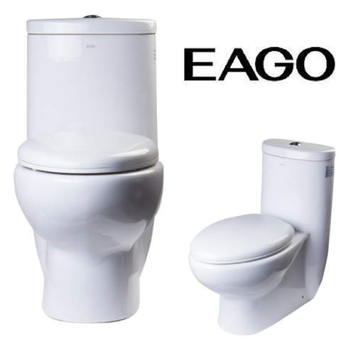 EAGO TB309 One Piece Dual Flush High Efficiency Low Flush White Toilet