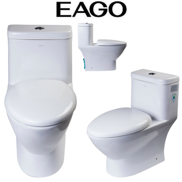 EAGO TB346 Elongated One Piece Dual High Efficiency Low Flush White Toilet