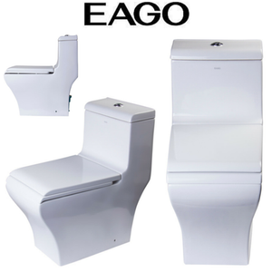 EAGO TB356 White Dual Flush High Efficiency Low Flush Eco-Friendly Toilet
